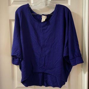 Aj Andrea Jovine Blue High-low Hem sweater top L